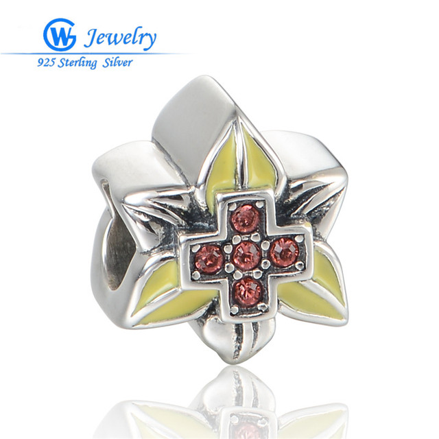 New! Genuine 925 Sterling Silver Enamel & Crystal Flower Beads Charms For Women Fits Bracelets D128H20