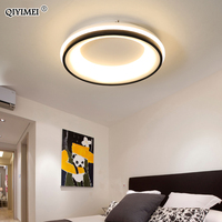 Modern Celling Lighting Black and White Round LED lamps With Remote for bedroom livingroom Fixture Acrylic Lights AC 90 260Vs