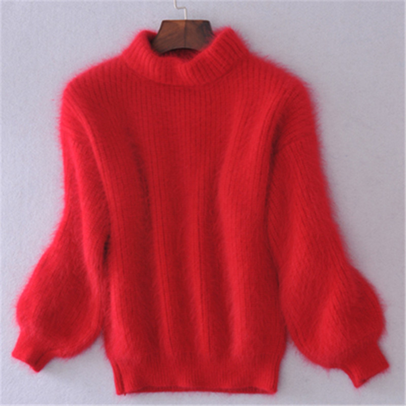 19 Winter New Fashion Thickened Warm Turtleneck Mohair Female Sweater Lantern Sleeve Casual Solid Color Slim Simple Pullover 4