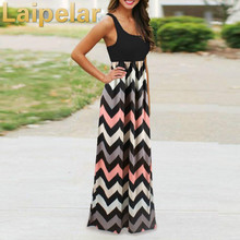 Laipelar Summer dress women Striped Long Boho Dress Lady Beach Maxi 2018 Casual Dresses