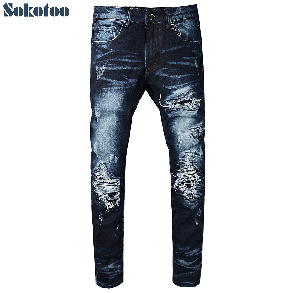 Sokotoo Men's dark blue pleated patch biker jeans Slim ripped torn stretch denim pants for motorcycle dark blue doll collar pleated dress