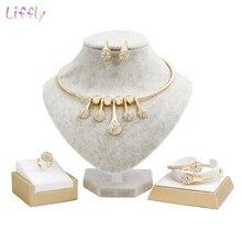Liffly Bridal Gift Dubai Gold Jewelry Sets Women Wedding African Beads Jewelry Set Fashion Jewelry Necklace Earrings недорого