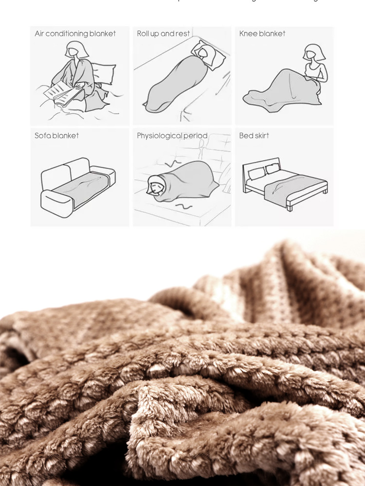 Image 5 - CAMMITEVER Super Soft Blanket Flannel Aircraft Sofa Use Office Children Blanket Towel Travel Fleece Mesh Portable Car Travel-in Blankets from Home & Garden