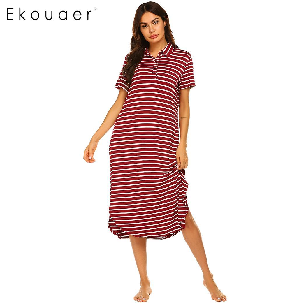 Ekouaer Women Loose   Nightgown     Sleepshirts   Turndown Short Sleeve Curved Hem Sleepwear Night Dress Female Home Nighties