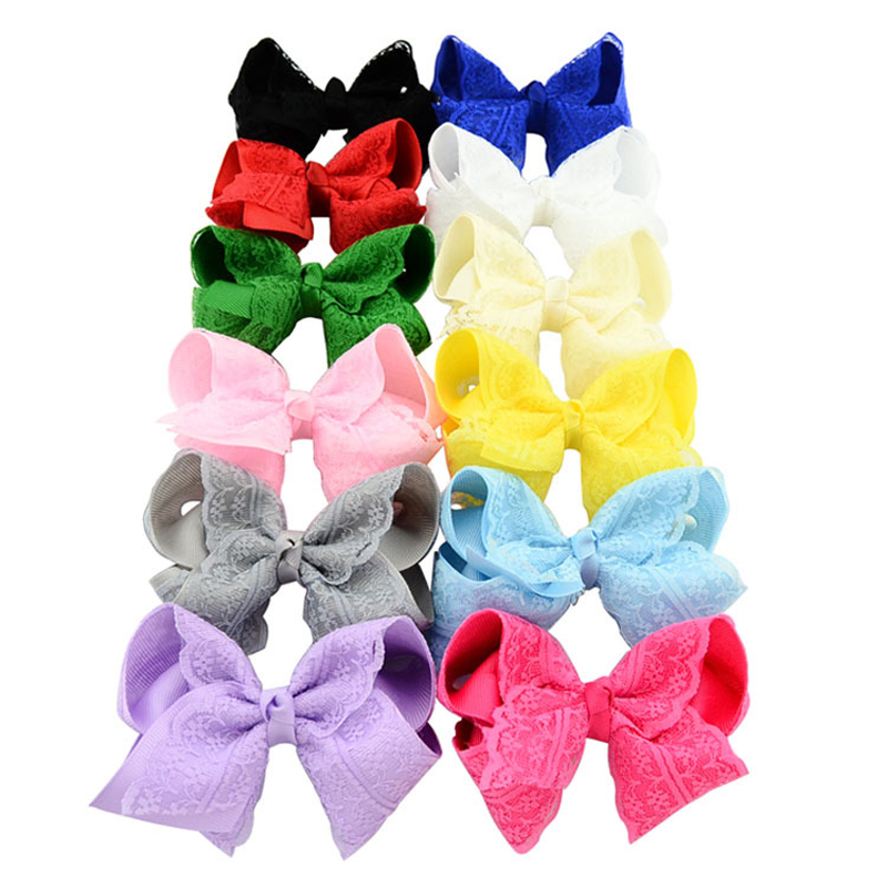 4Inch Girl's Fashion Boutique Bows With Clip  Girls Grosgrain Ribbon Lace Bow Hairpins Kids Hair Accessories Free Shipping 2542 3 5 inch grosgrain ribbon hair bow diy children hair accessories baby hairbow girl hair bows without clip 16pcs lot
