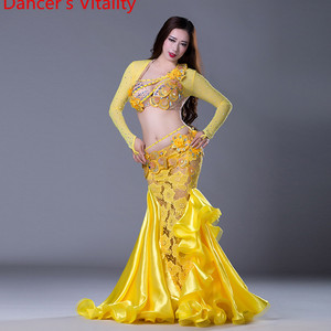 Image 2 - NEW stage Luxury Girls Belly Dance Costumes Long Sleeves Bra+Lace Skirt 2pcs Belly Dance Suit Women Ballroom Dance Set
