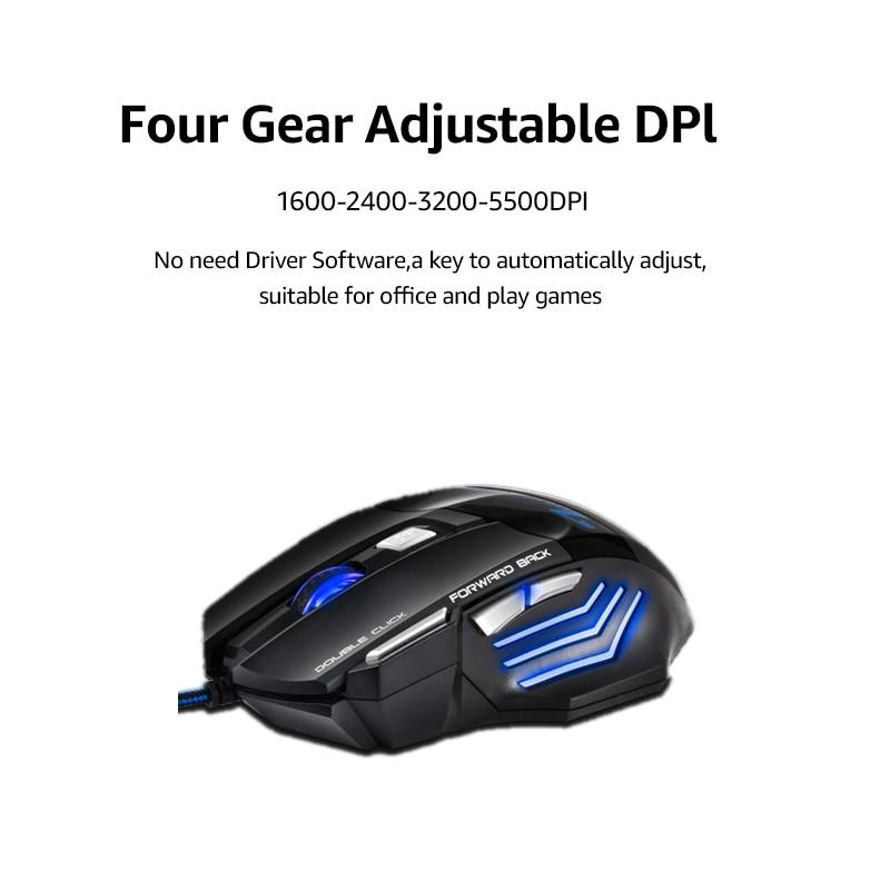imice USB Gaming Mouse 7 gomb 5500DPI LED optikai vezetékes kábel - Számítógép-perifériák - Fénykép 2