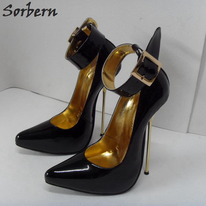 цена Sorbern Sexy 16Cm Steel Thin Heels Women Pumps Ankle Straps Round Toe Stilettos 34-52 Gold Women Shoes Shiny T-Show Dance Heels