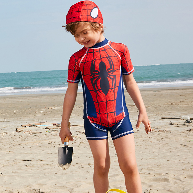 2018 New arrival boys one piece swimwear spider man printed cute kids swimsuit sport bathing suit with hat short sleeve bodysuit