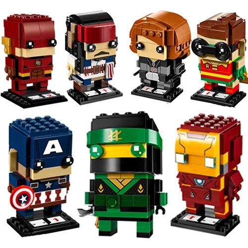 2018 MOC Verbesserte Ninjagoed Marvel Jack Sparrow Brickheadz Modell Bausteine Ziegel Köpfe Headz Eisen Mann Kinder Spielzeug Geschenk