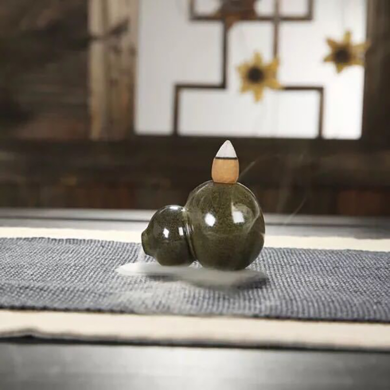 Small gourd Backflow Incense Burner Ceramic Aromatherapy Furnace Smell Aromatic Home Office Incense Road Home decorations in Incense Incense Burners from Home Garden
