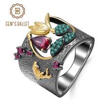 GEMS バレエ 925 スターリングシルバー宝石指リング 0.52Ct 天然 Rhodolite ガーネット手作り鳥リング女性のための