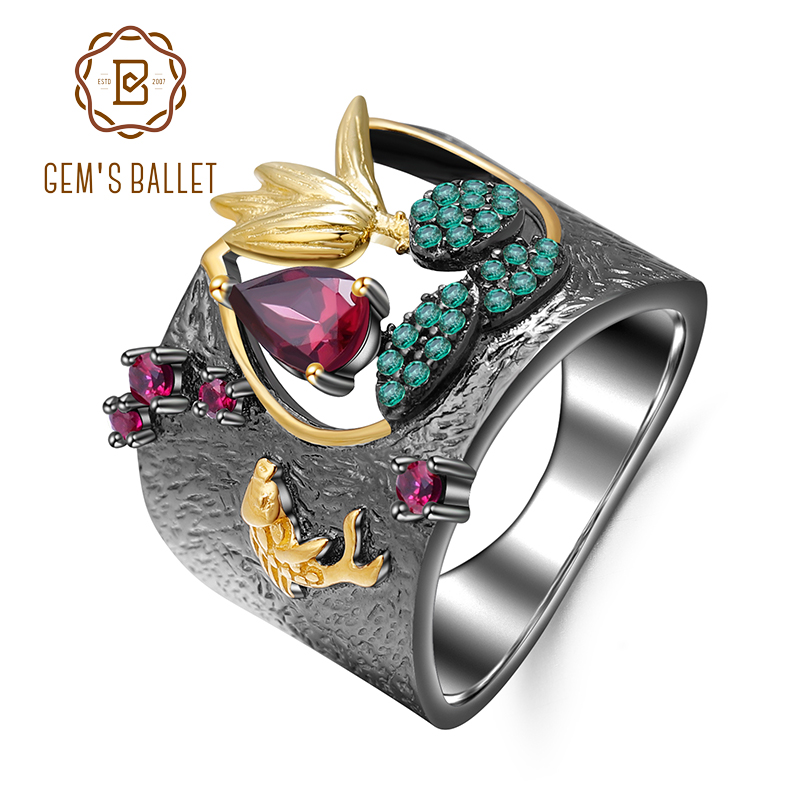 GEM'S BALLET 925 Sterling Silver Gemstones Finger Ring 0.52Ct Natural Rhodolite Garnet Handmade Bird Rings For Women