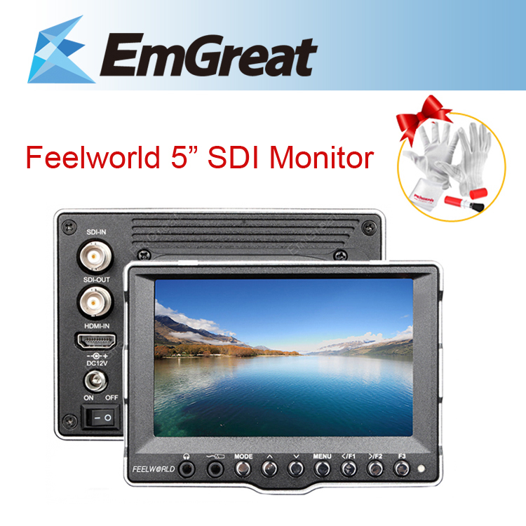 DHL Feelworld A5 5'' Aluminum SDI HDMI Ultra HD 800*400 CCTV On-Camera LCD Field Monitor for Canon 5D II 7D BMCC DSLR Cameras aputure vs 5 7 inch sdi hdmi camera field monitor with rgb waveform vectorscope histogram zebra false color to better monitor