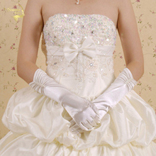 Bridal Gloves The bride wedding dress formal gloves beige white elastic satin winter thermal G005