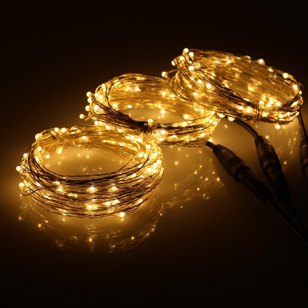 3 * 33Ft 100 LED-tilkoblingsbar utendørs julestjernelys kobbertråd 300 LED-lyslamper + strømadapter (USA, UK, EU, AU-kontakt)
