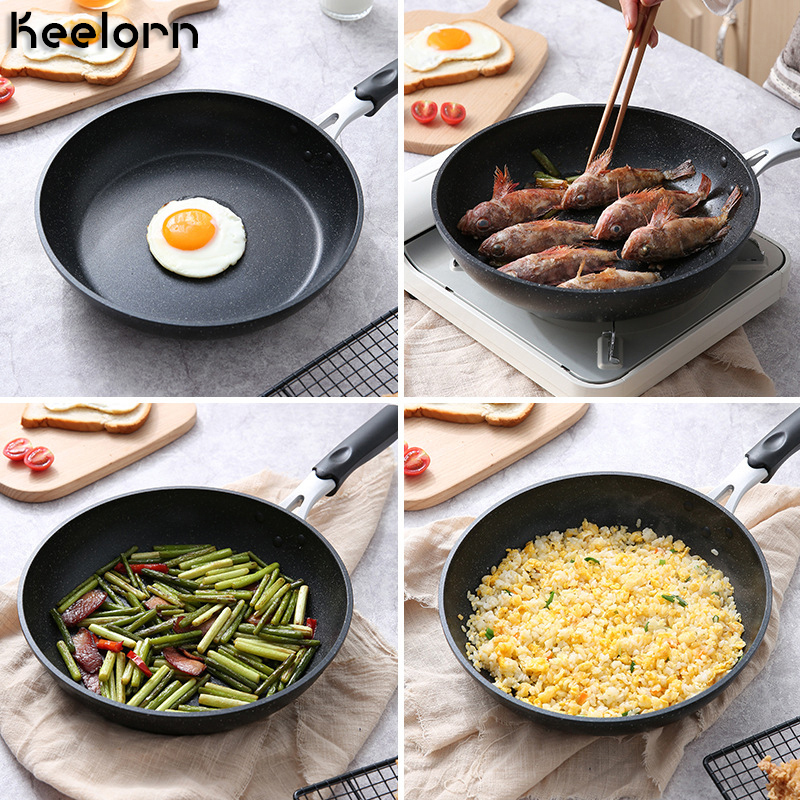 Keelorn 24cm Pan Non-stick Saute-Pans Without Pot Cover General Use For Gas And Induction Cooker Aluminum Alloy Pans