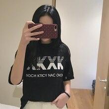 Harajuku Summer Womens New Fashion Letter Print Casual T-Shirt White Black Short Sleeve Slim T-shirt Tops Lady 2019 Arrival