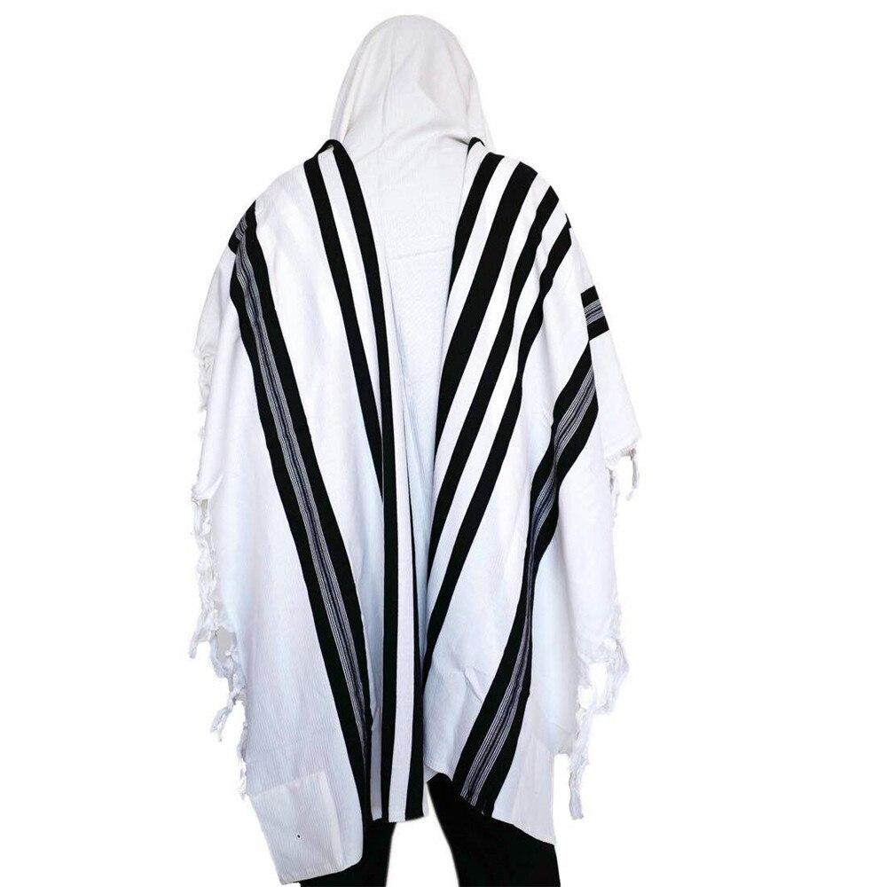 Israel Tallit Jewish Prayer Scarf 100% Wool Tallit Jacquard White Color With Black Stripes Size: 140*180cm Weight :600g