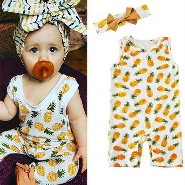 29ca639e6194 Children Clothing Newborn Infant Baby Girl Pineapple Romper Jumpsuit  Clothes Outfits Summer girls  clothes Baby Rompers 2018 New