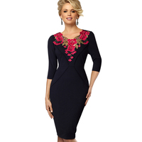 Autumn Vintage Elegant Flower Embroidered Bodycon Women Dress Retro Rockabilly Exquisite Floral Embroidery Pencil Dresses EB330