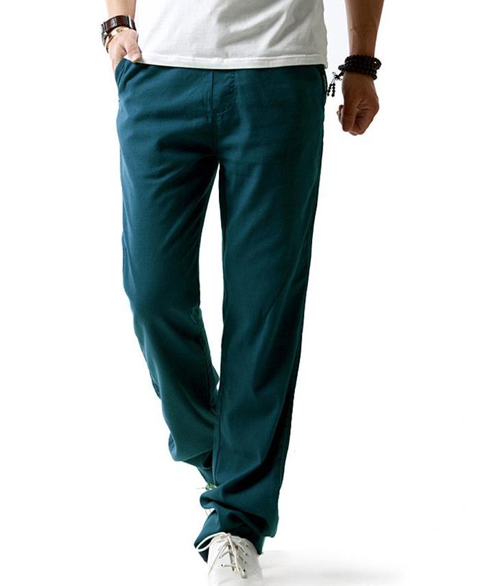 Мужские весенние размера плюс средняя эластичная талия Свободные Полная длина Прямые льняные штаны Мужские дышащие одноцветные хлопковые брюки - Цвет: 2