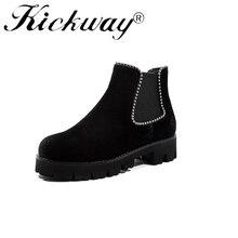 Kickway 2018 Vaca Suede Mulheres Botas de Inverno Sapatos Quentes Botas Feminina Feminino Ankle Boots Moda Motocicleta Mulheres Botas Mujer34-42