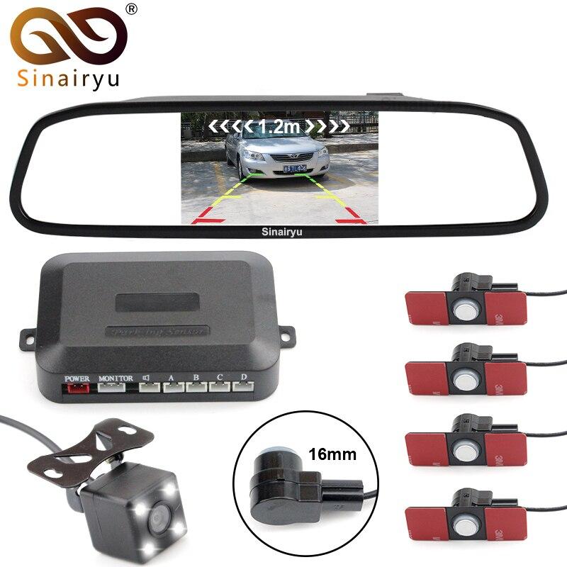 Sinairyu Car Video Reverse Parking Sensor 16MM Flat Sensors Connect Rear View Camera Display Distance on 4.3