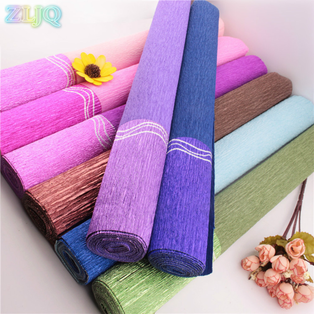 50cm27m curling pearlescent crepe paper flowers wrapping paper diy wrinkled paper roll wedding