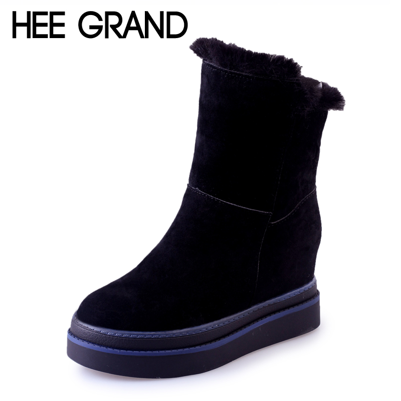 HEE GRAND 2017 Winter Faux Suede Women Snow Boots Casual Shoes Woman Gladiator Round toe Platform Women Solid Snow Boots XWX6382