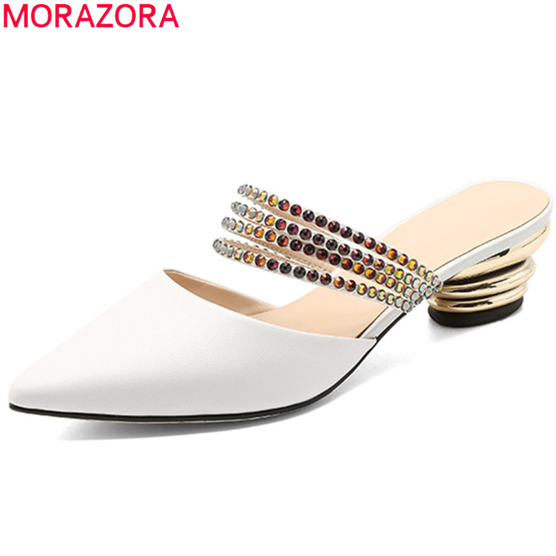 MORAZORA 2018 fashion summer new shoes woman pointed toe shallow mules shoes sandals women genuine leather shoes elegant flight est11 bk