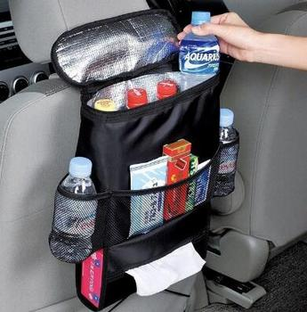 Car Seat Back Hanging Bag Organizer Multi-pocket Insulated Food Water Storage Mesh Bag Container Car Stowing Tidying Bags image