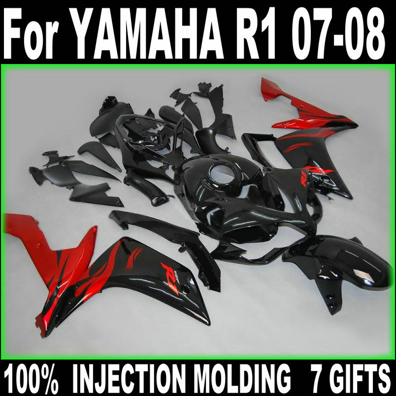 ⑥100% fit carenados de inyección para Yamaha YZF R1 07 08 mate Kit ...