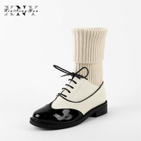 XiuNingYan Hot Sale Women Socks Boots 2017 New Fashion Women S Shoes Flat Genuine Leather Ankle