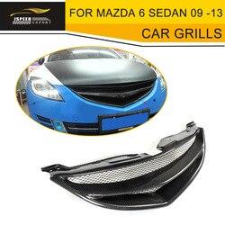 Z włókna węglowego samochodów Grille przednia krata zderzaka kratka wlotu powietrza dla Mazda 6 Sedan 4 drzwi tylko 2009-2013 GS GT I S szary FRP
