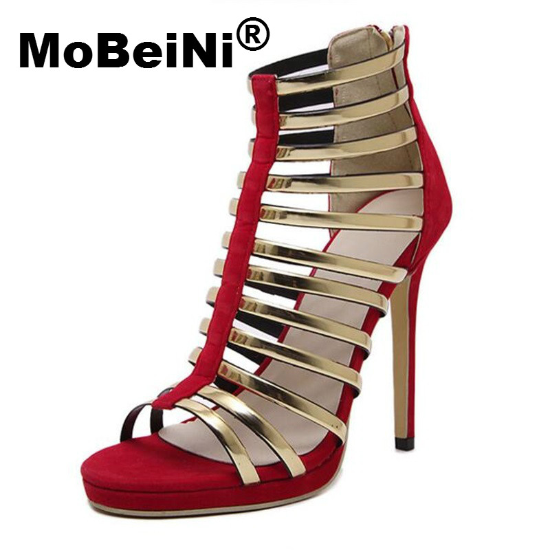 MoBeiNi Summer Gladiator Sandals Women High Heel Stiletto Strappy Open Toe Caged Sandals Pumps Woman Fetish Shoes Party Clubwear new fashion woman flats spring summer women shoes top quality strappy women sandals suede pointed toe gladiator ballet pumps