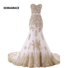 Glamorous Applique Sweetheart Lace-Up Floor-Length Mermaid Prom Gowns Designer Evening Dresses DGE053