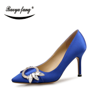 BaoYaFang New Sexy ladies wedding shoes Bride party dress shoes for woman 8cm Thin Heel Crystal fashion shoes
