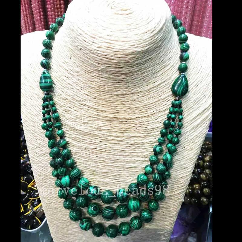 Бесплатная доставка, модные ювелирные изделия, новые модные зелёные малахитовые женские и мужские 3 ряда ожерелье, 1 шт. G6709