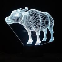 2016 Nowość 3D Krowa Kształt Kolorowe Noc Lampa LED Światło Nocne z USB jako Urodziny & Holiday Prezenty