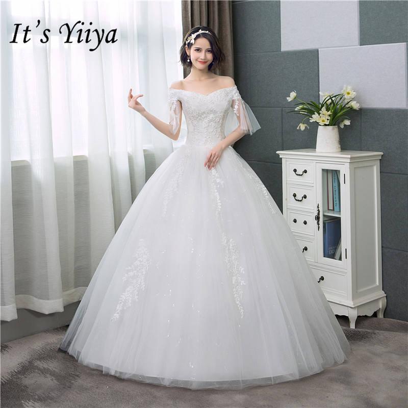 Simple Wedding Dresses Boat Neck: Aliexpress.com : Buy It's YiiYa New Boat Neck Wedding