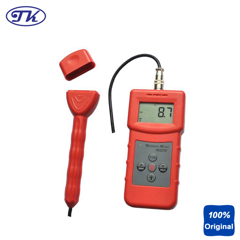 Wood Timber Paper Moisture Meter and Bamboo Carton Concrete Textile Inductive Moisture Analyzer MS310S fiber materials wooden articles tobacco cotton paper building soil and other fibre materials digital wood moisture meter mc7806