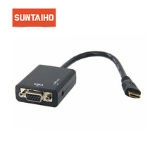 Baru MINI HDMI Male Ke VGA dengan Audio Hdcable Converter Adaptor 1080 P & Portable Digital-MiniHDMI-Vga konversi Kabel untuk PC(China)