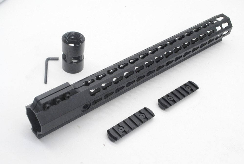 Tactical Ultralight 15 inch Key mod Picatinny Rail for Ar15 M4 M16 Free Float Handguard Free Shipping ak 47 tactical quad rail picatinny handguard system cnc aluminum full length tactical for ak rifles 26cm hunting gun accessories