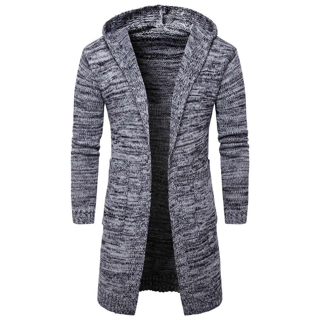 MD-Long Sleeve Knitted Cardigan Men 'S Solid Color Coat Slim Fit Outwear Cross-Border E-COMMERCE For Spring And Autumn Male Hood