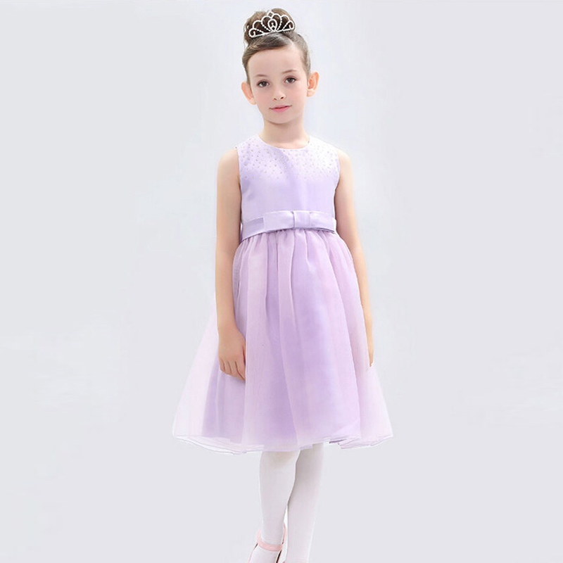 ФОТО First Communion Dresses for Girls New A Line Purple and White Ankle Length Sleeveless O Neck Sashes Summer Pageant Dress