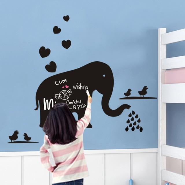 Creative Cartoon Elephant Blackboard Sticker DIY Wall Nursey Kids Bedroom Home Decor Mural Decal DLX010