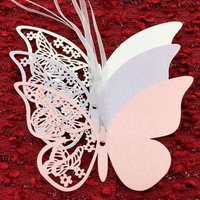 50Pcs Romantic Butterfly Hollow Shape Craft Paper Hang Tag Wedding Party Label Price Gift Cards Glass