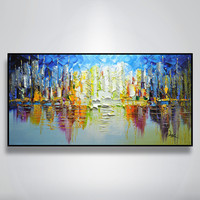 Hand painted canvas oil paintings Wall art Pictures for living room Cheap modern cuadros abstract oil painting landscape sailing