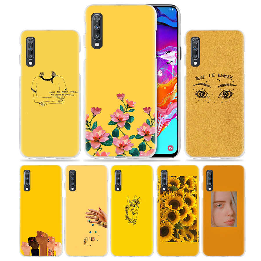 Yellow Aesthetic Art Case for Samsung Galaxy A50 A70 A80 A20e A60 A40 A30 A20 A10 A8 A6 Plus A9 A7 2018 Hard PC Phone Cover Capa